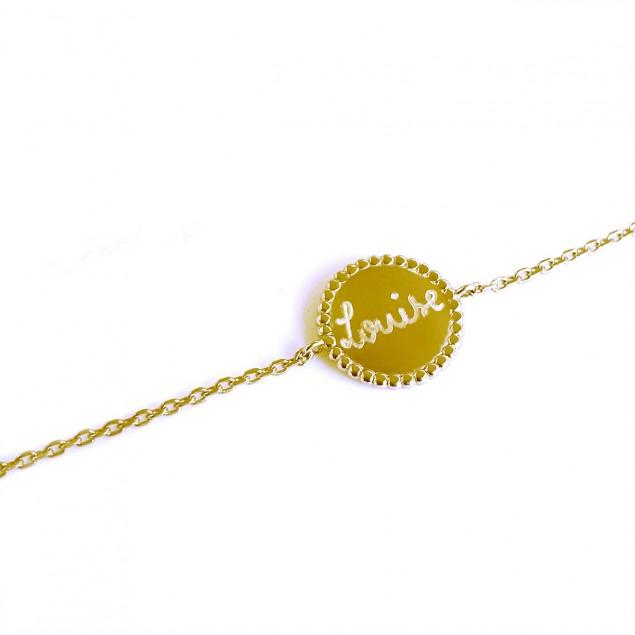 Bracelet chaîne perlé plaqué or