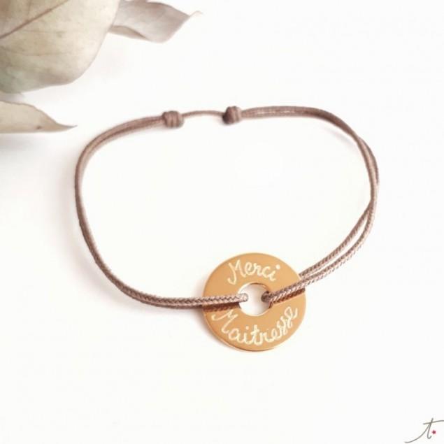 Bracelet cible plaqué or Merci Maîtresse