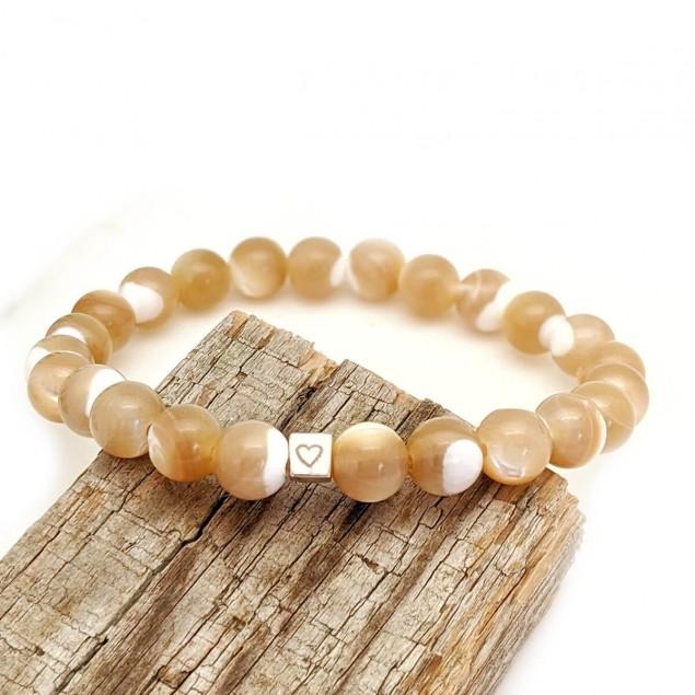 Bracelet en perles de nacre personnalisé - 1 à 4 cubes à personnaliser