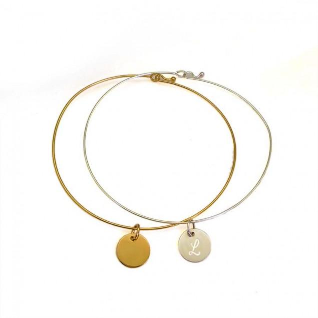 Bracelet jonc ultra fin pampille gravée - Argent ou Plaqué or
