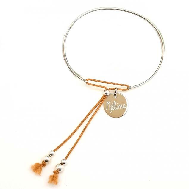 Bracelet jonc personnalisé - Médaille ronde en argent