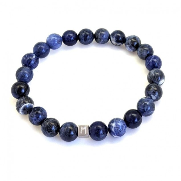 Bracelet perles bleues Sodalite pour homme - 1 à 4 cubes à personnaliser