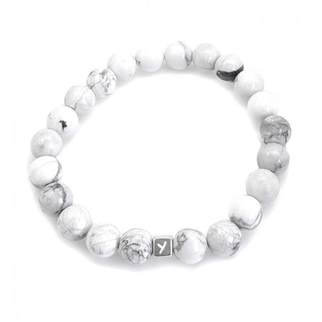 Bracelet perles Howlite pour homme - 1 à 4 cubes à personnaliser