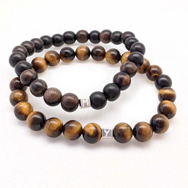 DUO de bracelets en perles semi-précieuses pour homme à personnaliser