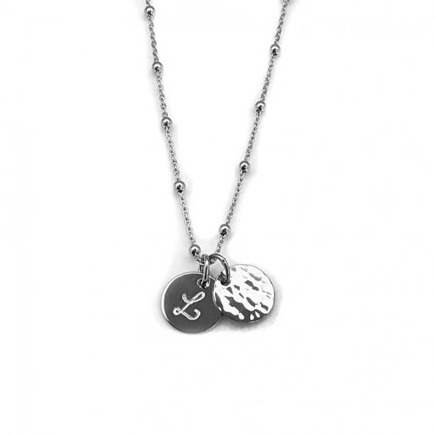 Collier initiale gravée argent 925