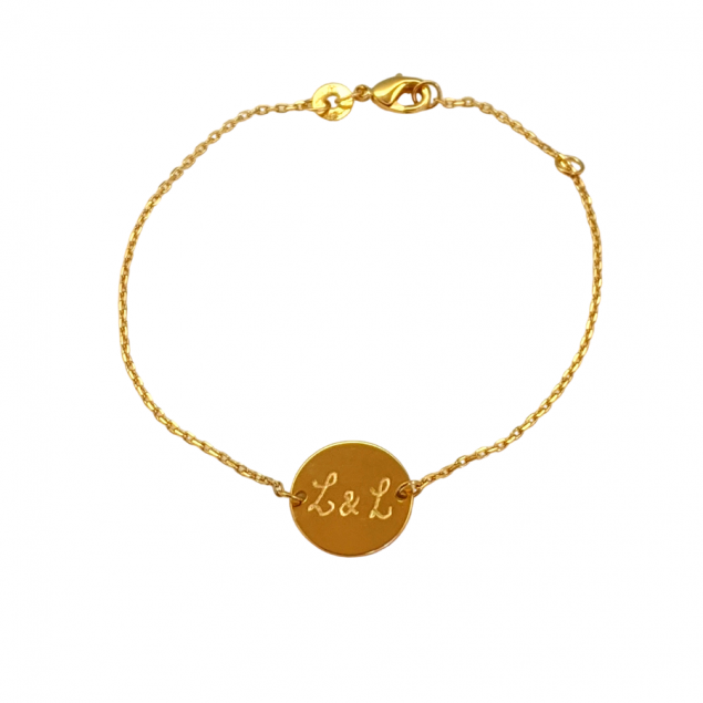 Bracelet chaîne jeton gravé - plaqué or