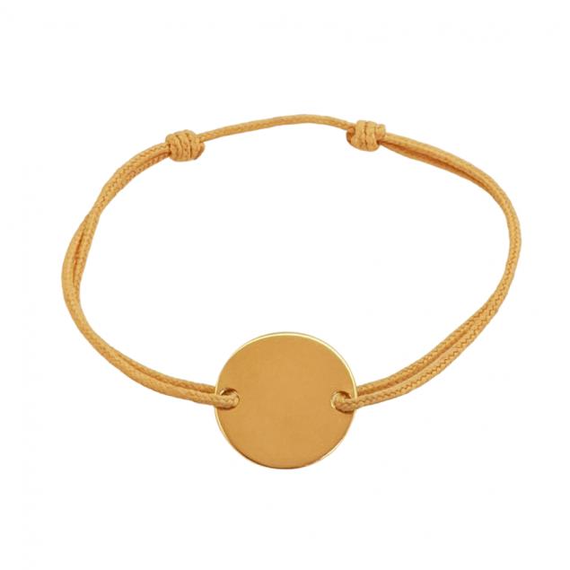Bracelet cordon personnalisé mini jeton gravé - Plaqué or