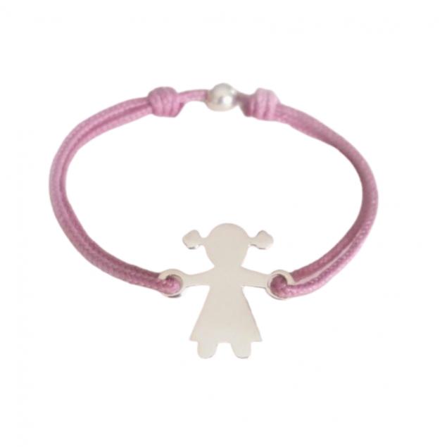 Bracelet cordon personnalisé enfant - Petite fille en argent
