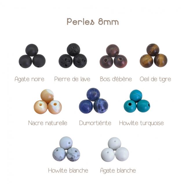 Perles semi-précieuses ou en bois noble