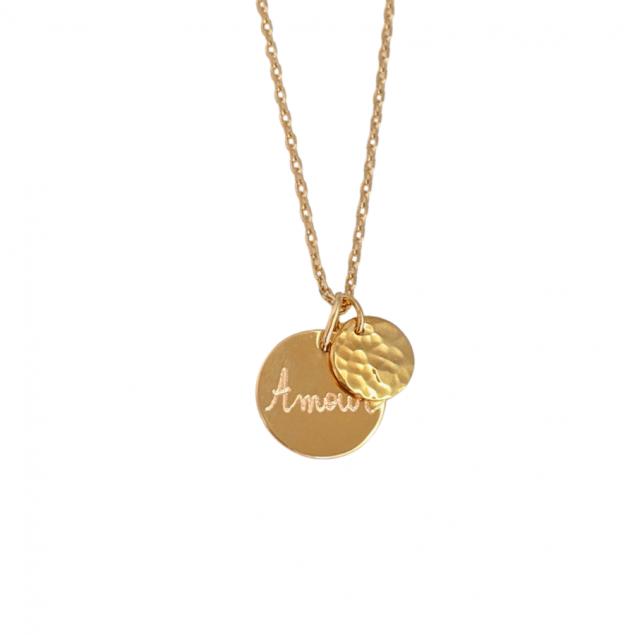 Collier personnalisé petite médaille gravée & mini martelé - Plaqué or