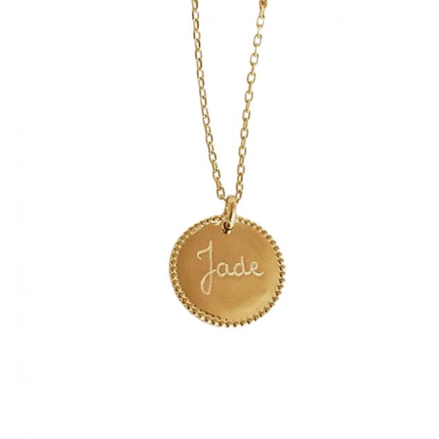Collier médaille perlée à graver - Plaqué or