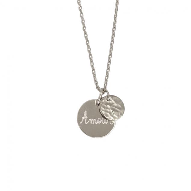 Collier personnalisé petite médaille gravée & mini martelé - Argent