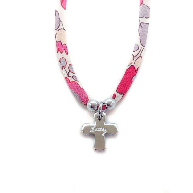 Collier Liberty croix gravée de communion - Argent