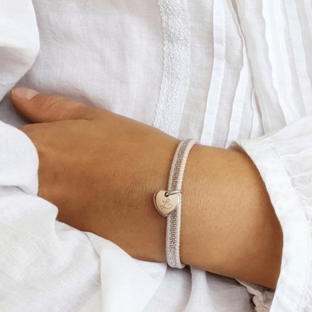 Bracelet Coeur de Noël Gravure Initiale - Argent 925