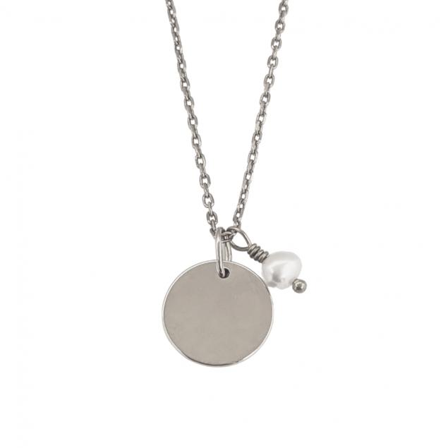 Collier petite médaille personnalisée  & perle d'eau douce - Argent 925