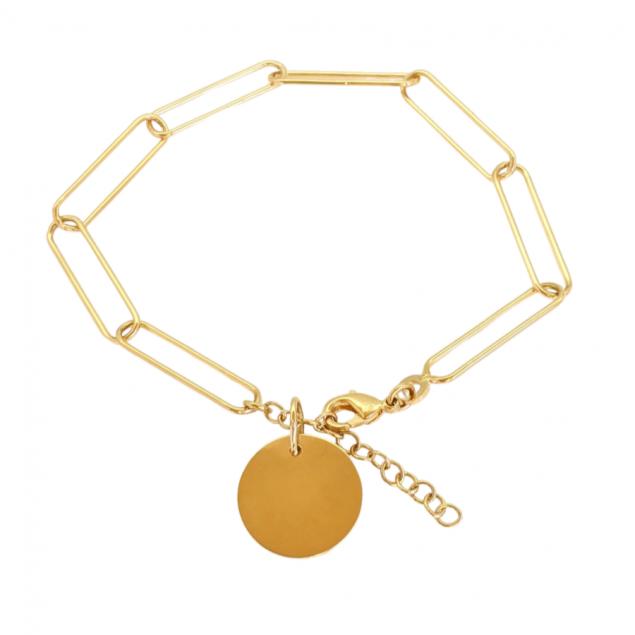 Bracelet personnalisé grosse maille lisse - Plaqué or