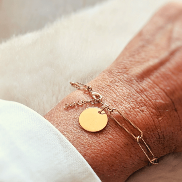Bracelet grosse maille lisse médaille gravée - Plaqué or