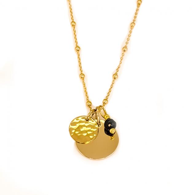 Collier personnalisée  médaille, mini-martelée & pierre semi-précieuse - Plaqué or