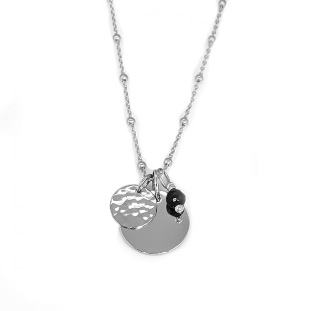 Collier personnalisée  médaille & pierre semi-précieuse - Argent 925
