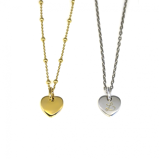 Collier pendentif mini coeur initiale - Plaqué or ou argent