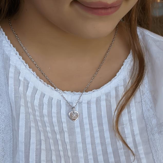 Collier pendentif mini coeur initiale argent - chaine forçat 45 cm avec rappel à 40 cm