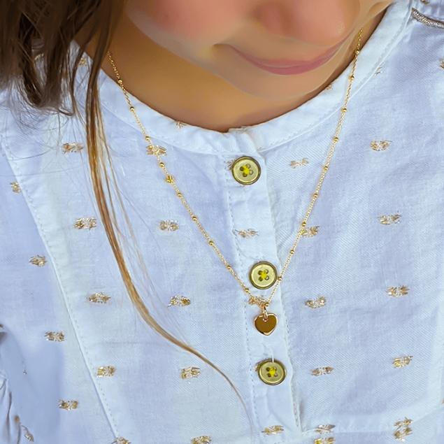 Collier pendentif mini coeur initiale Plaqué or sur chaine boule 45 cm