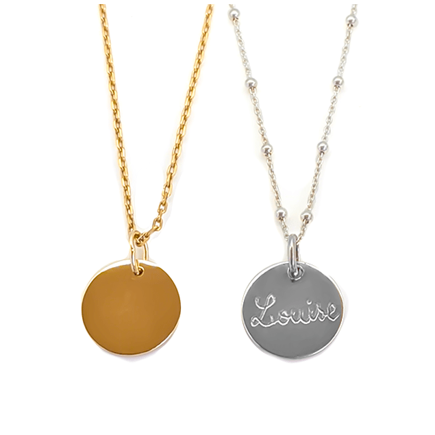 Collier personnalisé Argent ou plaqué or - Petite Médaille à graver