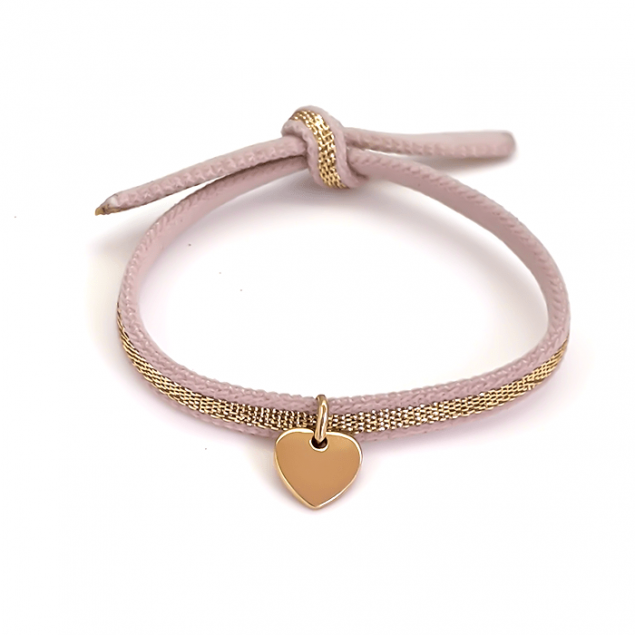 Bracelet Coeur de Noël Gravure Initiale - Plaqué or Cordon Rose & doré