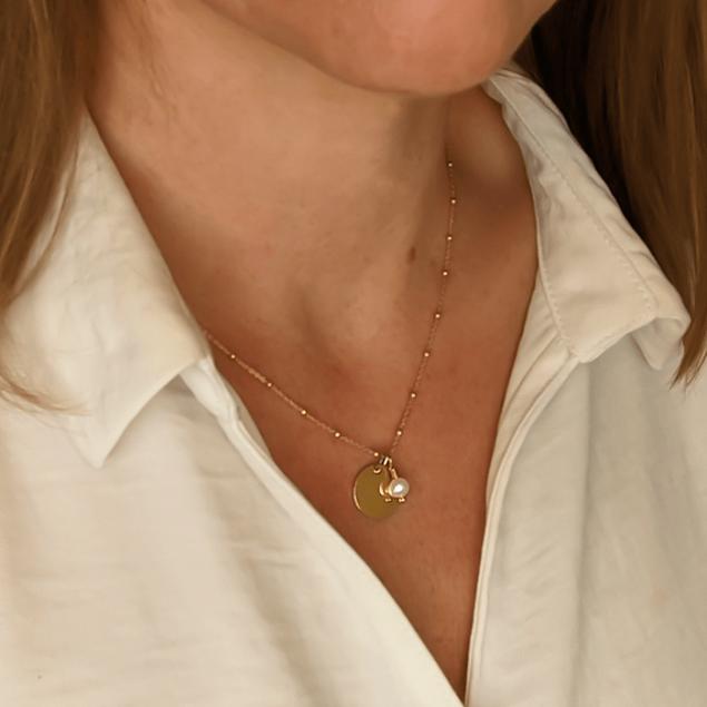 Collier petite médaille, mini-martelée & pierre sur chaine boule