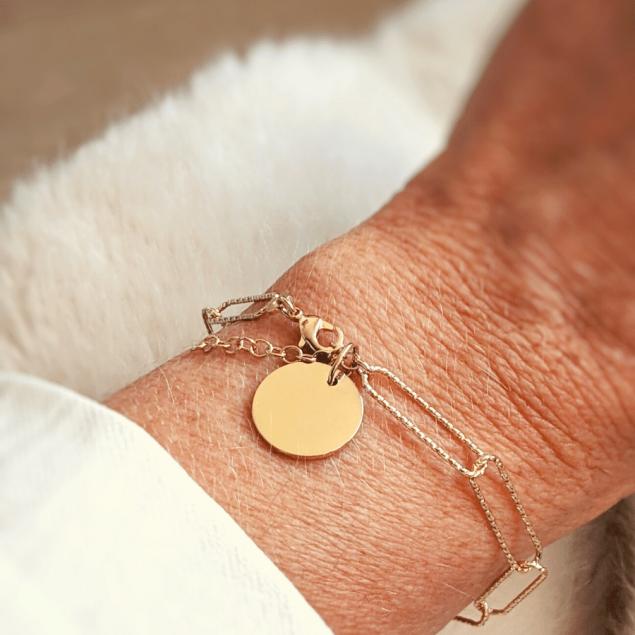 Bracelet grosse maille tendance médaille gravée - Plaqué or