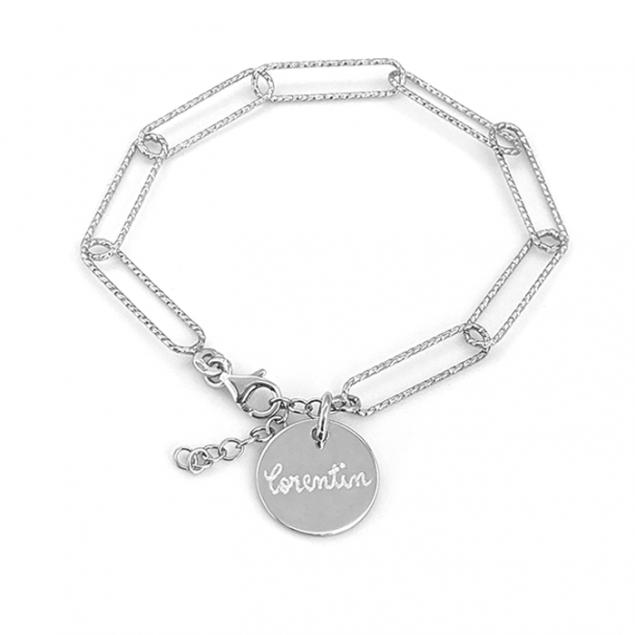Bracelet personnalisé grosse maille tendance - Argent