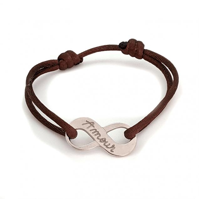 """Bracelet infini """"Amour"""" avec gravure personnalisés au verso - Argent"""