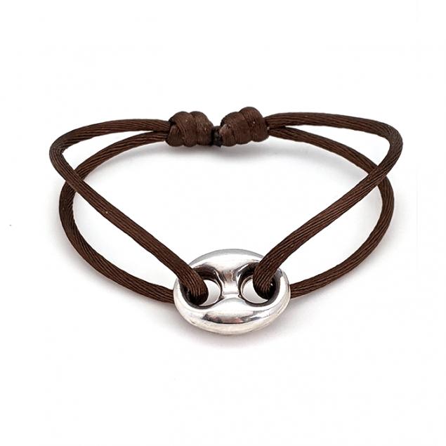 Bracelet cordon grain de café - Argent