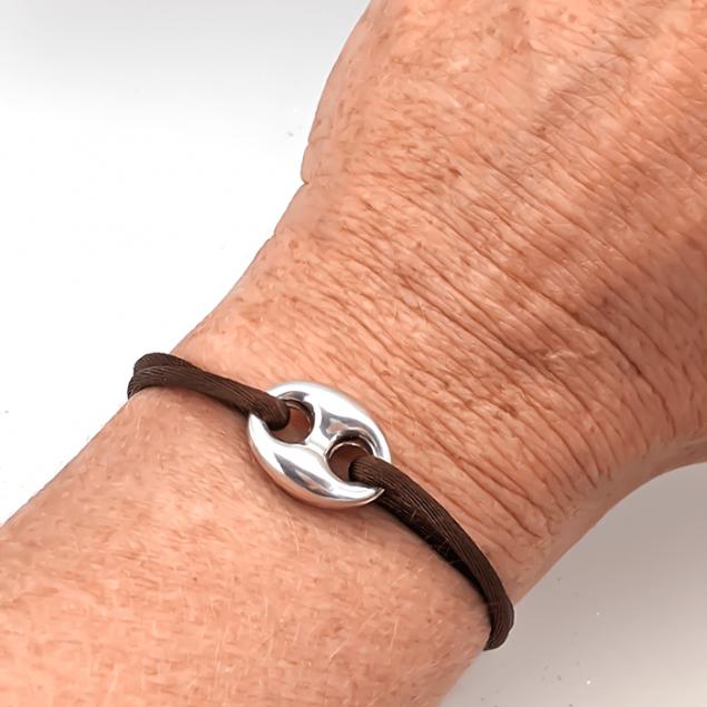 Bracelet cordon grain de café - Argent 925
