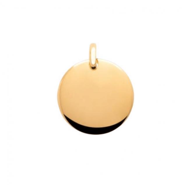 Médaille ronde plaqué or légèrement bombée de 20 mm