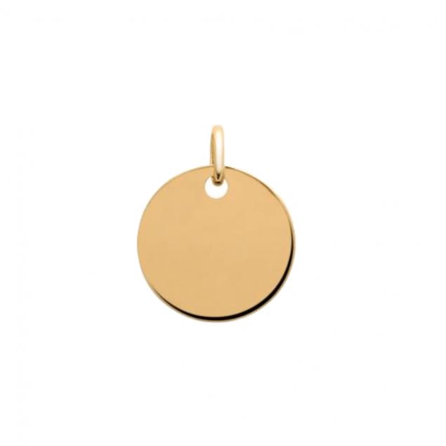 Médaille ronde 15mm gravée - Plaqué or