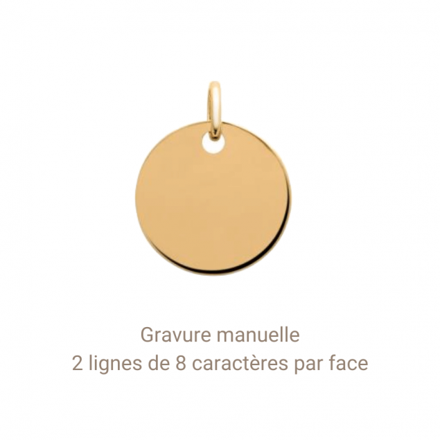 Gravure charms 15mm plaqué or