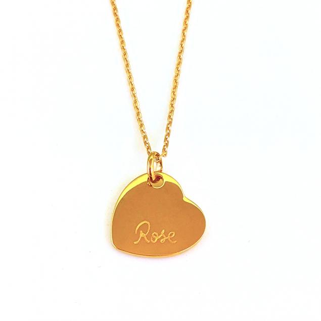 Collier pendentif coeur gravé - Plaqué or