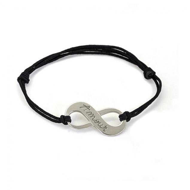 Bracelet infini personnalisé femme - argent