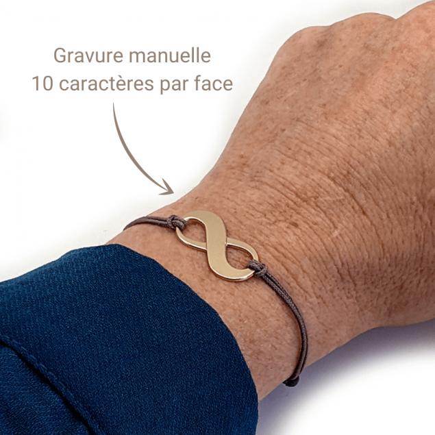 Bracelet infini gravé prénom - existe aussi en plaqué or