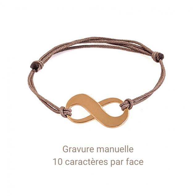 bracelet signe infini pour femme gravé d'un prénom