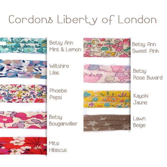 Bracelet Cordon Liberty au choix