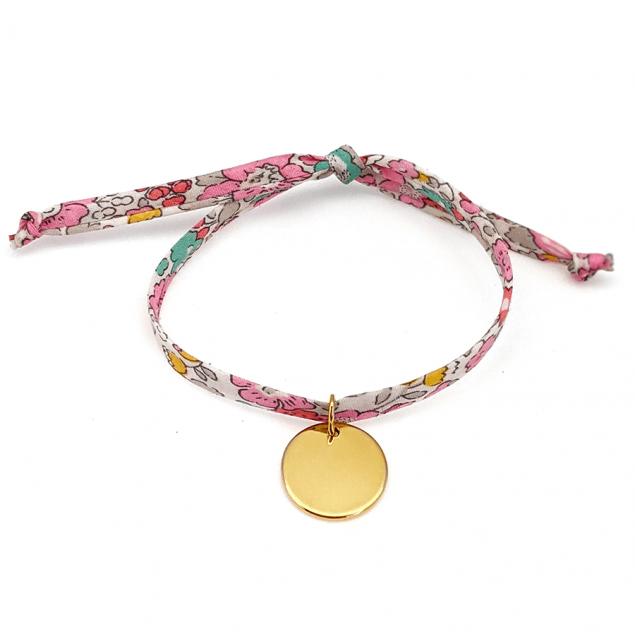Bracelet Liberty médaille gravée - Argent ou plaqué or
