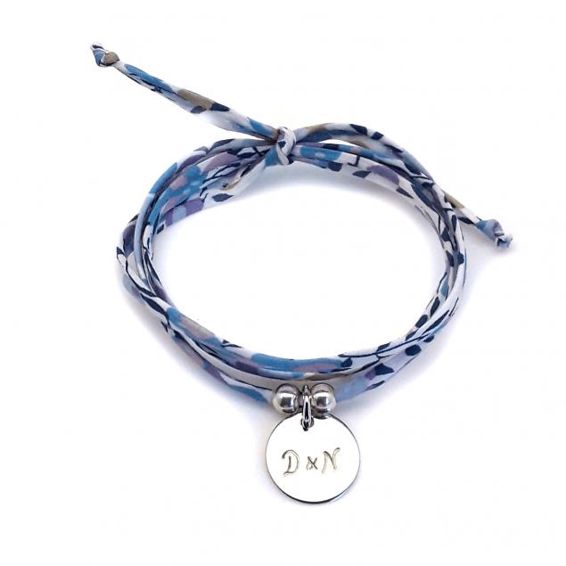 Bracelet Liberty médaille gravée & perles - Argent
