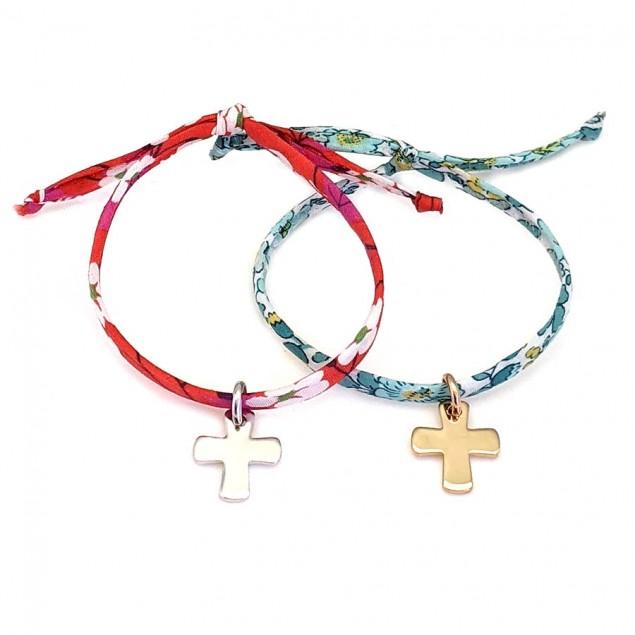 Bracelet Liberty croix gravée - Argent ou plaqué or