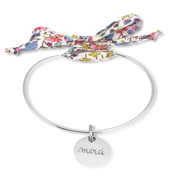 Bracelet jonc Liberty enfant médaille gravée - Argent