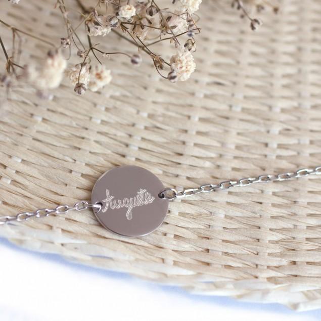 Bracelet chaîne personnalisé Jeton - Argent 925