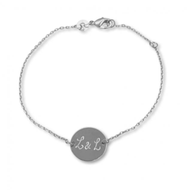 Bracelet chaîne jeton gravé - Argent 925