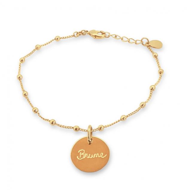 Bracelet chaine boule médaille gravée - Plaqué or