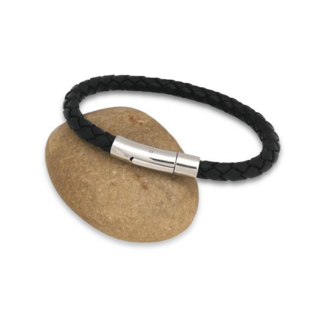 Bracelet Homme cuir torsadé noir et fermoir acier - Gravable